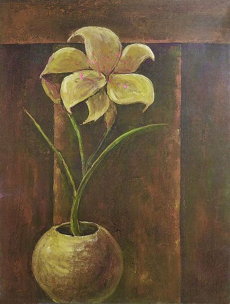Single Lily in a Round Vase