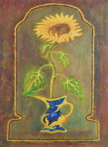 Sunflower in a Blue Vase