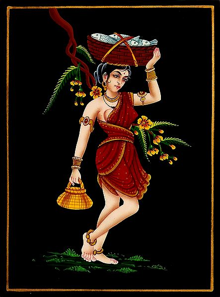 Fisher Woman - Nirmal Painting on Wood