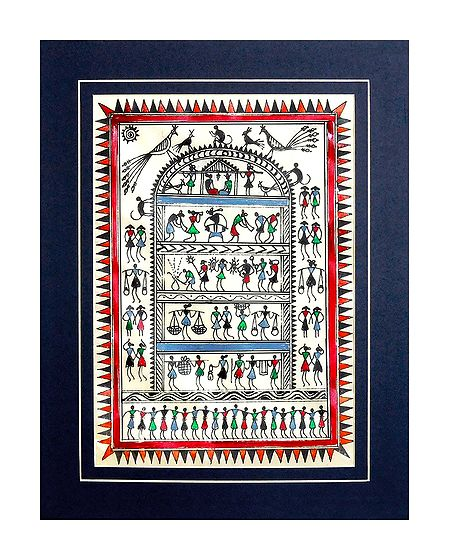 Village Life - Saura Paintings on Tussar Silk