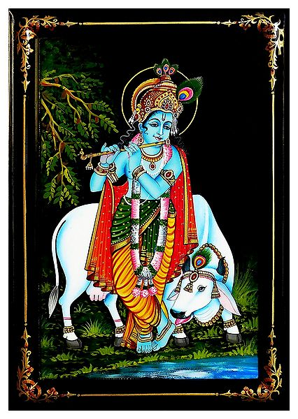 Cowherd Krishna - Nirmal Painting on Wood
