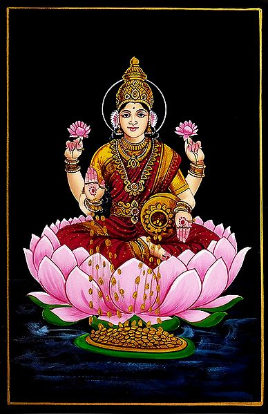 Dhana Lakshmi - Nirmal Painting on Wood