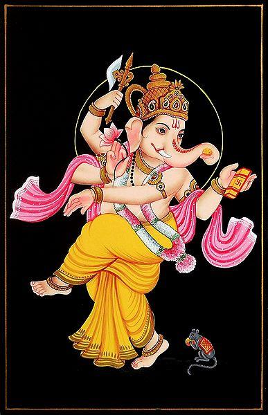 Dancing Ganesha - Nirmal Painting on Wood