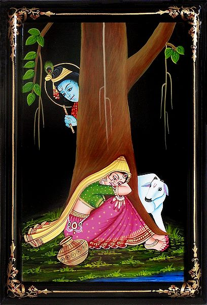 Krishna Peeping at Radha - Nirmal Painting on Wood