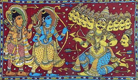 Rama and Lakshmana at War with Ten Headed Ravana