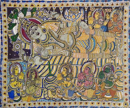 Anantashayan of Vishnu with Gods and Goddesses