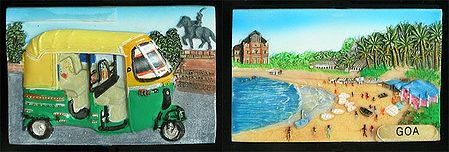Three Wheelar and Goa Beach - Set of 2 Magnets