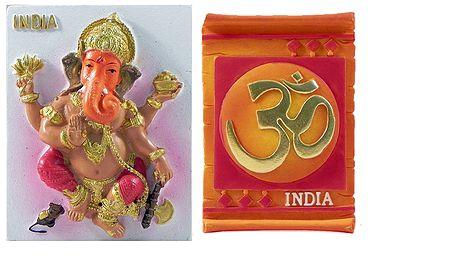 Ganesha and Om - Set of 2 Magnets