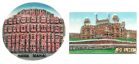 Hawa Mahal in Jaipur and Red Fort in Delhi - Set of 2 Magnets