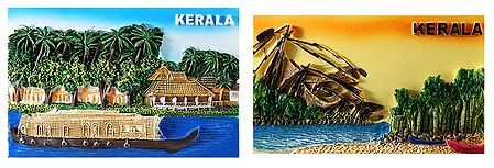 Houseboat and Fishing Net of Kerala - Set of 2 Magnet