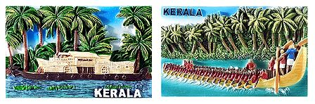 Houseboat and Snake Boat of Kerala - Set of 2 Magnet