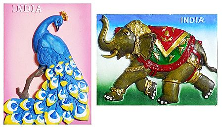 Peacock and Royal Elephant - Set of 2 Magnet