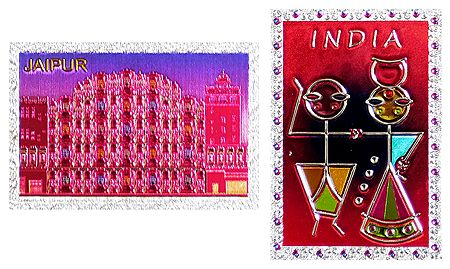 Hawa Mahal and India - Set of 2 Metal Magnets