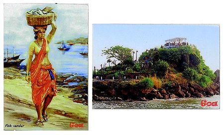 Dona Paola and Fish Vendor in Goa - Set of 2 Magnets