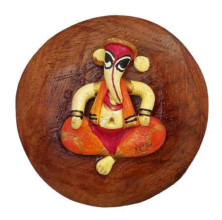 Stone Dust Ganesha on Wooden Base - Magnet