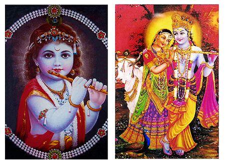 Bal Gopal and Radha Krishna - Set of 2 Magnets