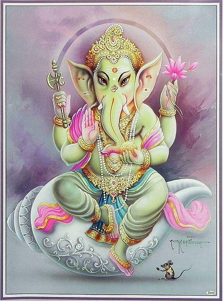 Lord Ganesha Sitting on Conch