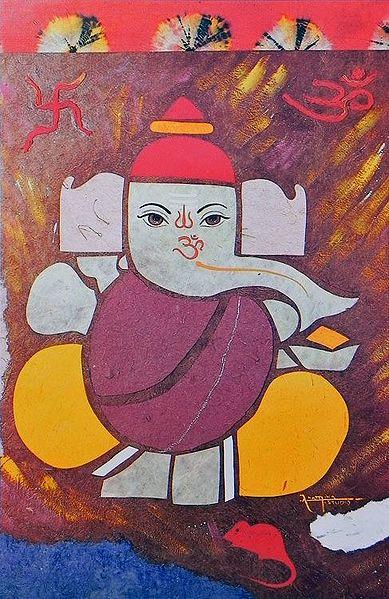 Ganesha with Om and Swastik (Auspicious Hindu Symbols)