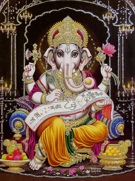 Lord Ganesha Writing - Glitter Poster