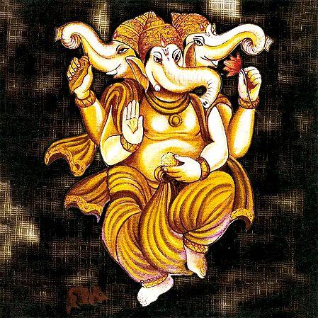 Three Headed Lord Ganesha