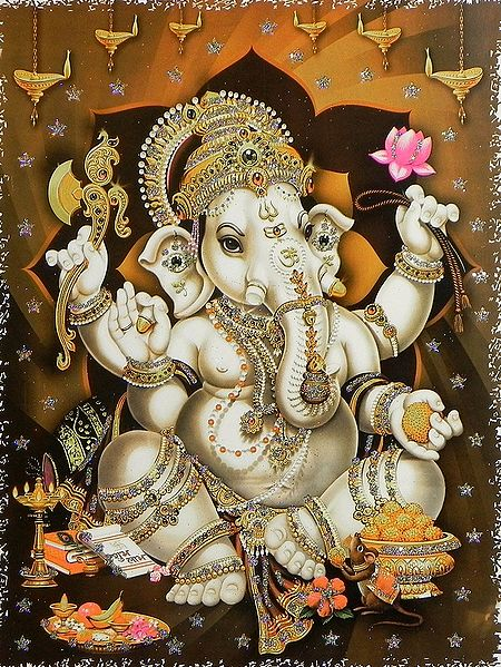 Ganesha with Modakam - Glitter Poster