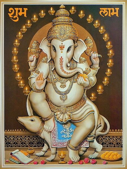 Lord Ganesha Sitting on Mouse
