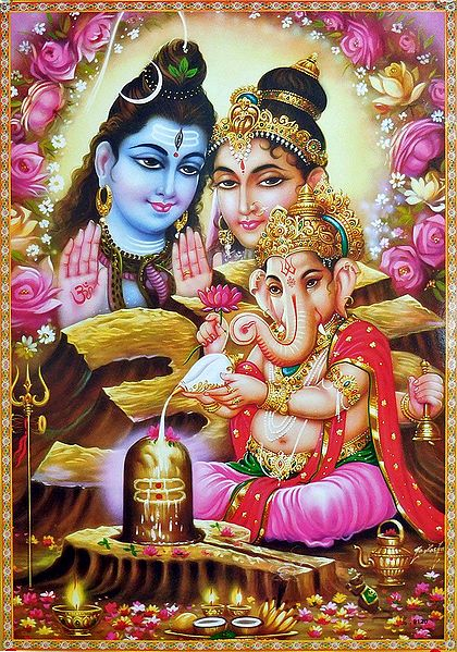 Ganesha Performing Puja of Shiva