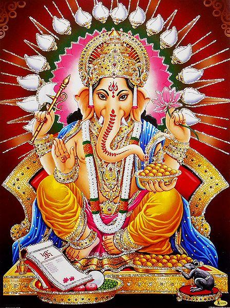 Lord Ganesha - Unframed Glitter Poster