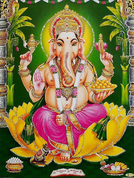 Lord Ganesha Sitting on Lotus - Glitter Poster
