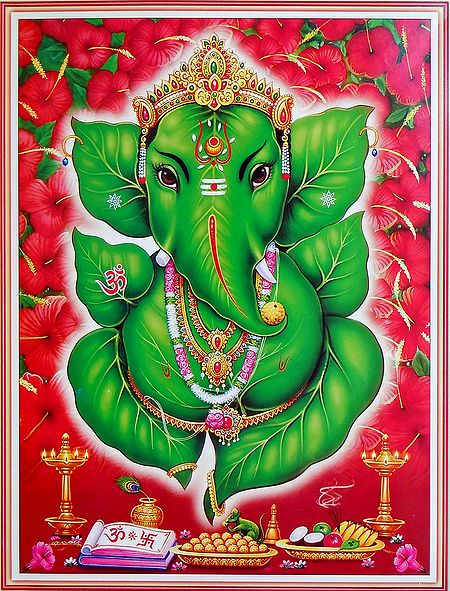 Lord Ganesha Made of Leaf