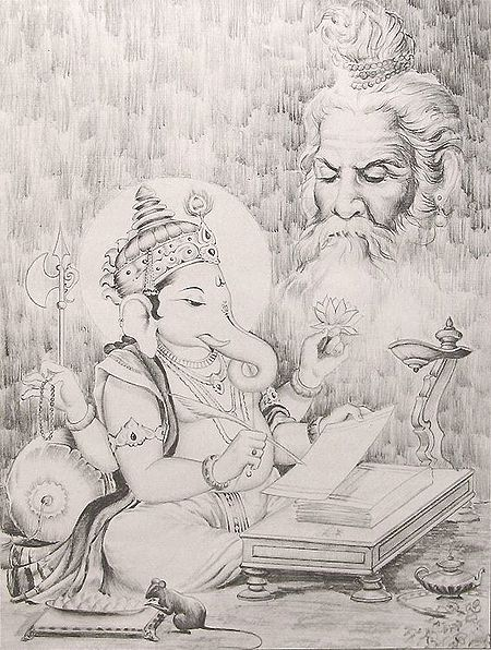Lord Ganesha Writing the Mahabharata as Narrated by Sage Vedvyasa