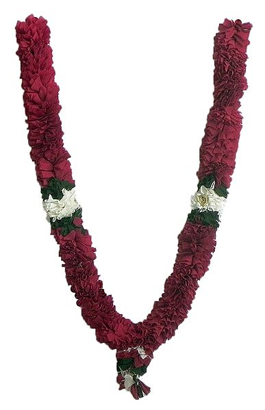 Maroon with White and Green Cloth Garland