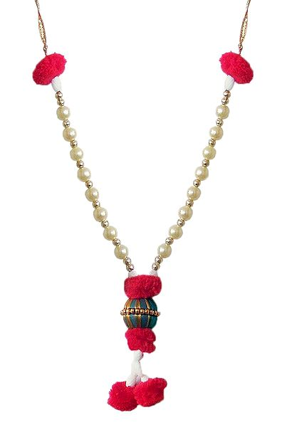 Bead Garland with Red Woolen Balls
