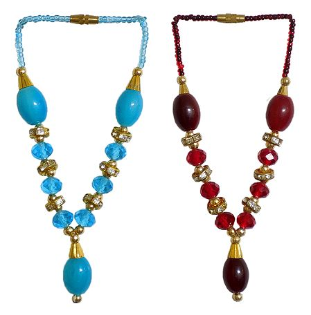 Set of 2 Cyan Blue and Red Beaded Small Garlands for Deity