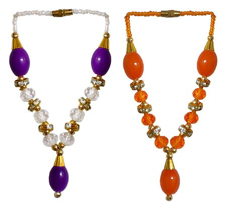Set of 2 Purple with White and Saffron Beaded Small Garlands for Deity