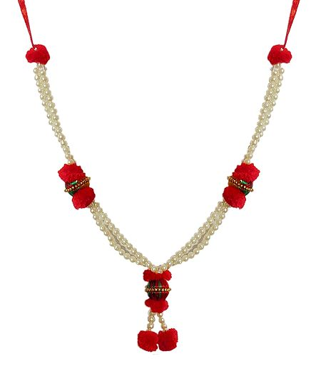 White Beads with Red Woolen Ball Garland