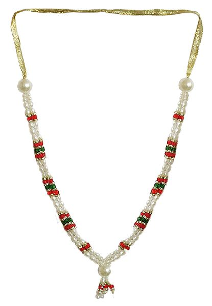White, Red and Green Bead Garland