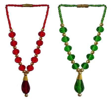 Set of 2 Red and Green Beaded Small Garlands for Deity