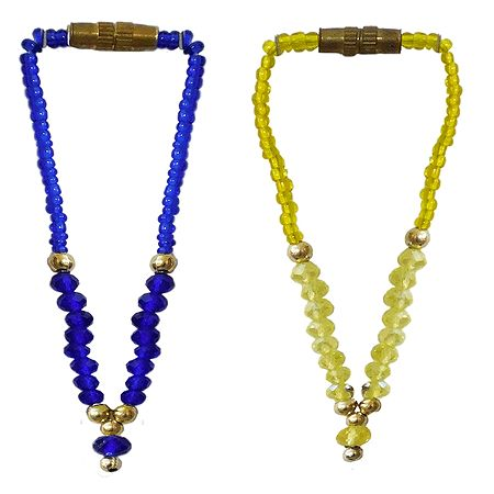 Set of 2 Blue and Yellow Beaded Small Garlands for Deity