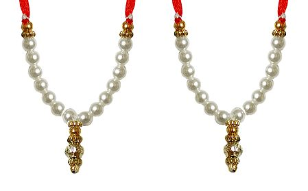 Set of 2 White Beaded Small Garlands for Deity