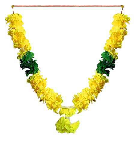 Yellow with Green Cloth Garland