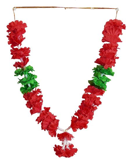 Red Cloth Garland with Beads