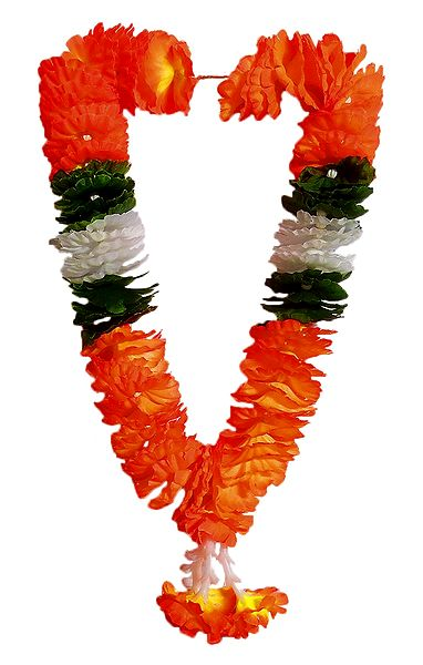 Saffron, Green, White Cloth Garland