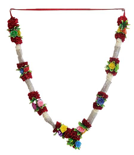 Multicolor Roses with Maroon Cloth Garland