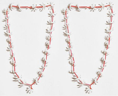 Set of 2 White Synthetic Flower Garland
