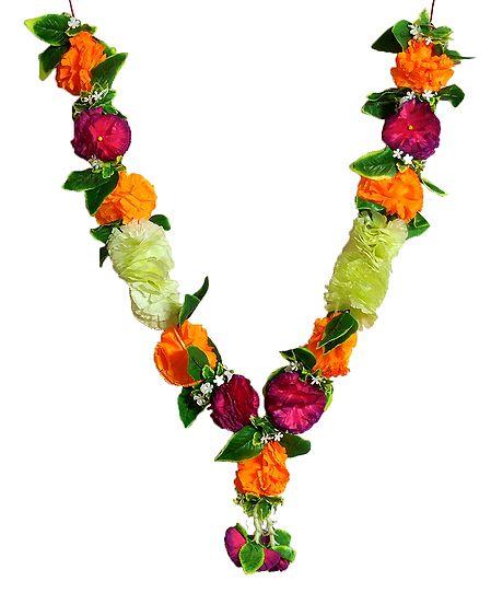 Saffron, Cream with Green Cloth Flower Garland