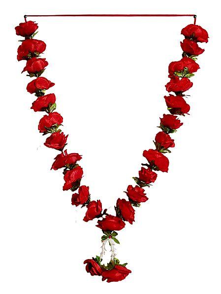 Red Cloth Rose Garland