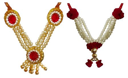 Set of 2 White, Red and Golden Beaded Small Garlands for Deity