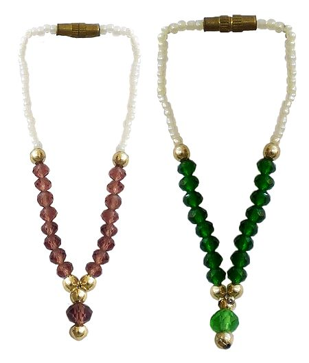 Set of 2 Brown and Green Beaded Small Garlands for Deity