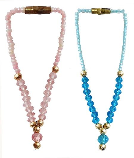 Set of 2 Blue and Pink Beaded Small Garlands for Deity